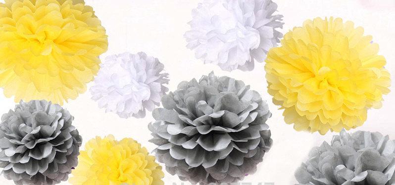 Свадьба - Gray, Yellow & White Pom Pom Set