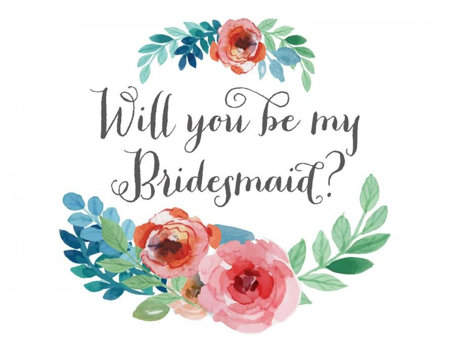 picture relating to Will You Be My Bridesmaid Printable called Will By yourself Be My Bridesmaid Card // Floral Watercolor