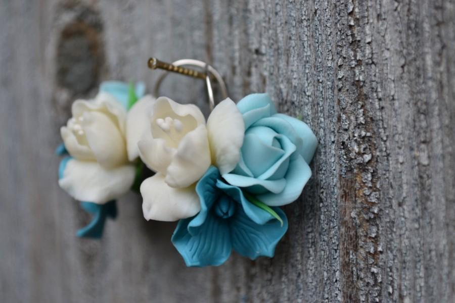Hochzeit - Mint white flower earrings. Mint rose earrings