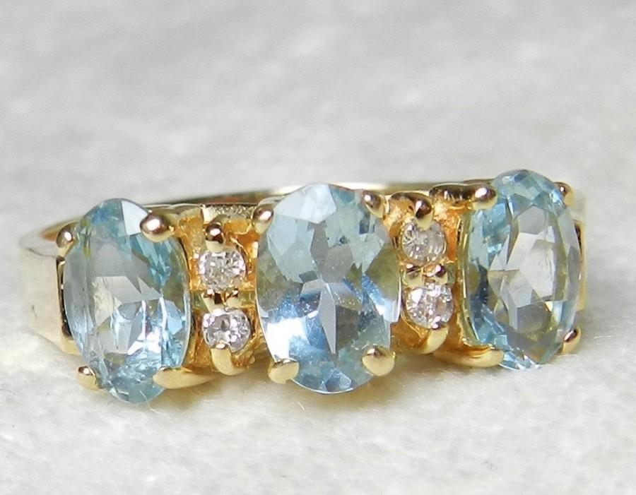 Hochzeit - Aquamarine Ring three stone Aguamarine Ring 1.2 total carat Aquamarine with 0.10 round diamonds 14k yellow gold Aqumarine Cocktail Ring