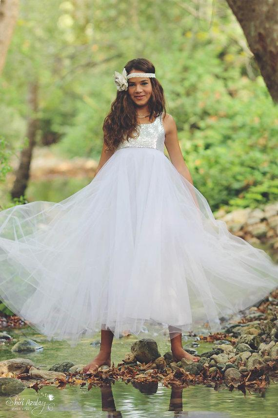 efe7ce75ff1c1 Flower Girl dress, Silver Sequin Girl dress With Tulle, Special Occasion  ,floor length girls dress, Christmas silver dress, Holiday Dress