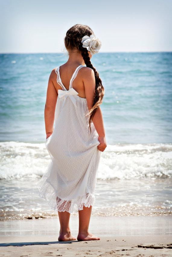 Wedding - Sale!!! White lace maxi dress // Flower Girl Dress