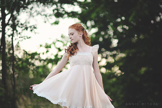 Mariage - Junior Bridesmaid Dress--Girls Dress--Blush Pink Lace and chiffon dress flower girl Dress
