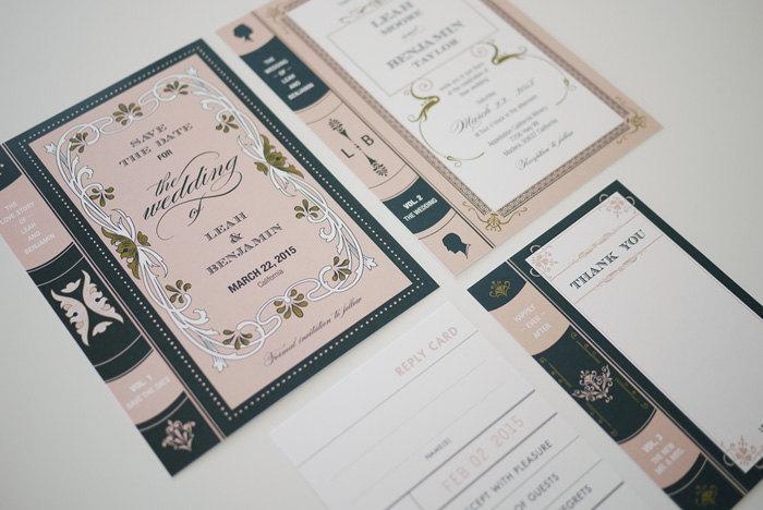 زفاف - Vintage Library Book Wedding Invitation Printable Set of 4