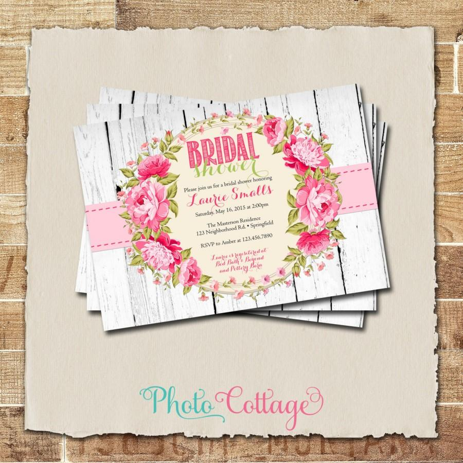 زفاف - Shabby Chic Bridal Shower Invitation, Wood Pink Bridal Brunch Invitation, Peony Invitations, Floral Bridal Shower Invites, Invitation, BS156