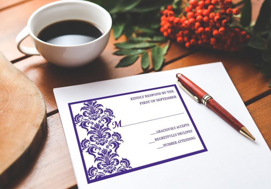 زفاف - Purple Wedding RSVP Postcard, Printable Wedding, RSVP Template, Printable RSVP Postcard, Editable Word File S002-1