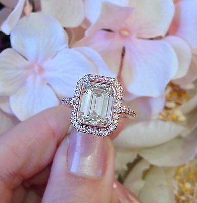 Mariage - █ GIA Cert 3.85 Ct Emerald Cut Diamond Engagement Ring In 18K Rose Gold █HM1280