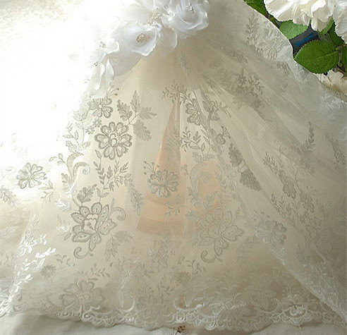 Hochzeit - Ivory Embroidery Bridal Lace Fabric, Wedding Lace Fabric, Floral Lace Fabric, 51 inches Wide for Dress, Costume, Craft Making, 1/2 Meter