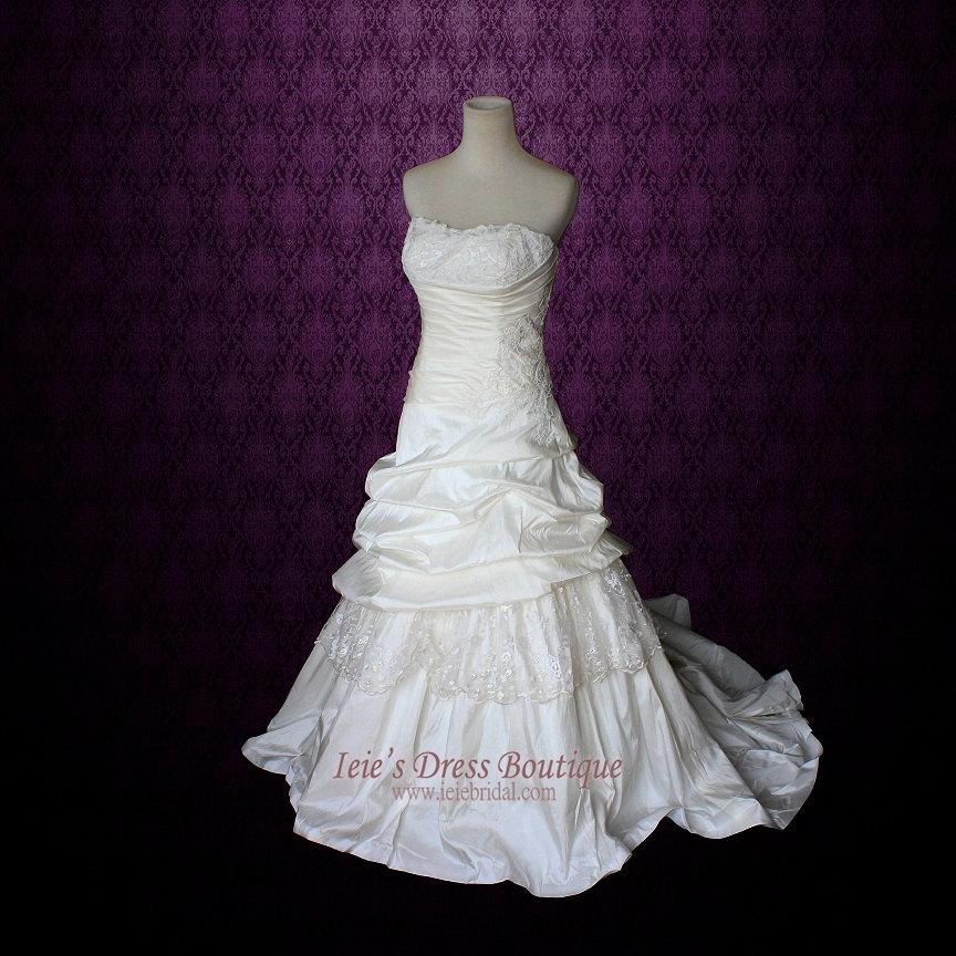 Strapless a line lace wedding dress with dropped waist for A line dropped waist wedding dress