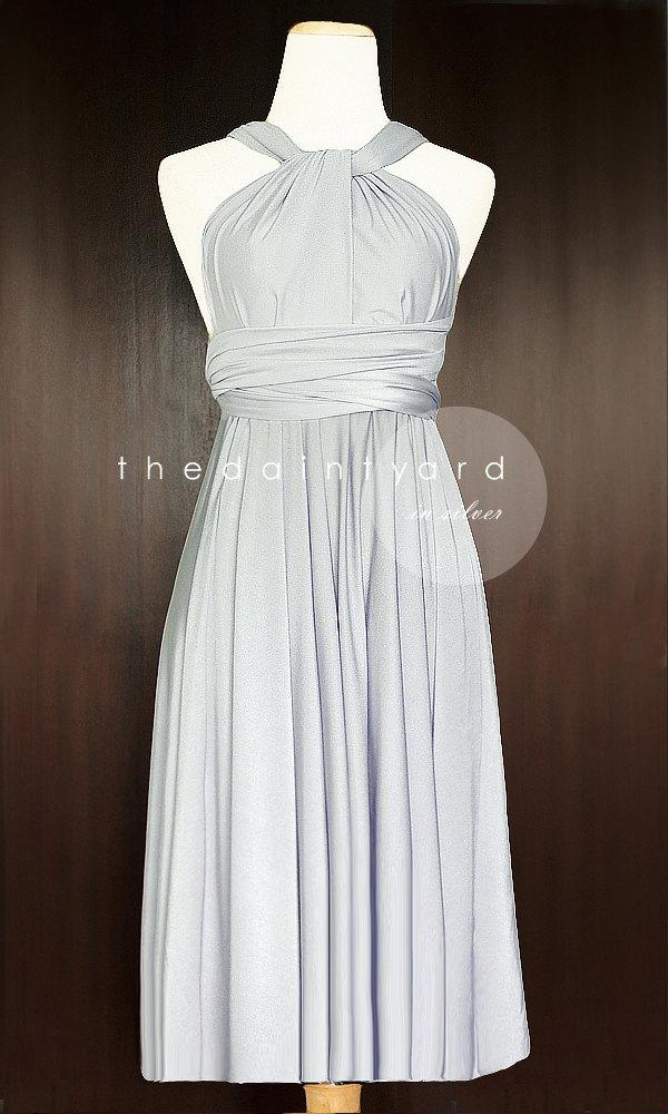 Nozze - Short Straight Hem Silver Bridesmaid Dress Convertible Infinity Dress Multiway Dress Wrap Dress Wedding Dress Toga Cocktail Evening Dress