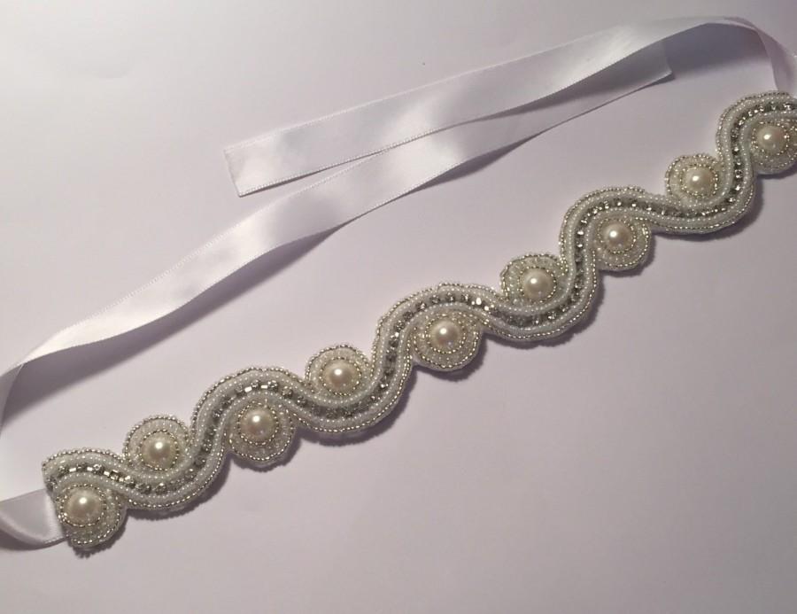 Свадьба - Rhinestone and pearl wedding headband. Bridal Headpiece. Wedding hair accessory. Rhinestone hair accessory