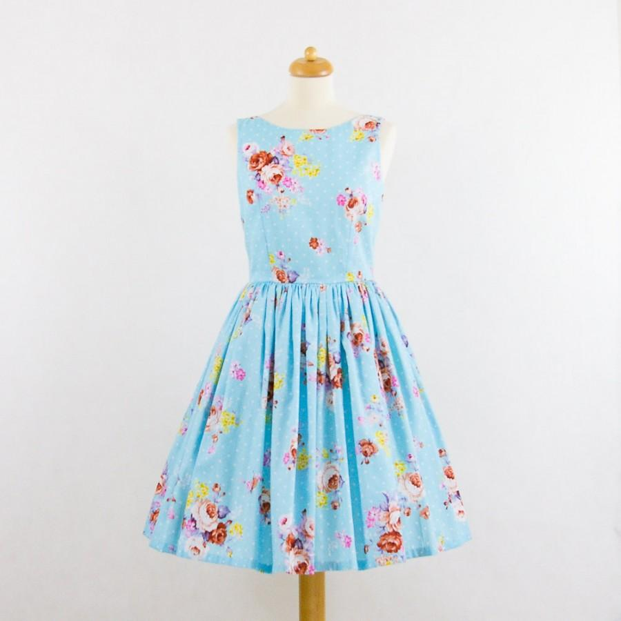 Mariage - Custom made bridesmaid dress, floral bridesmaids dress, vintage inspired dress