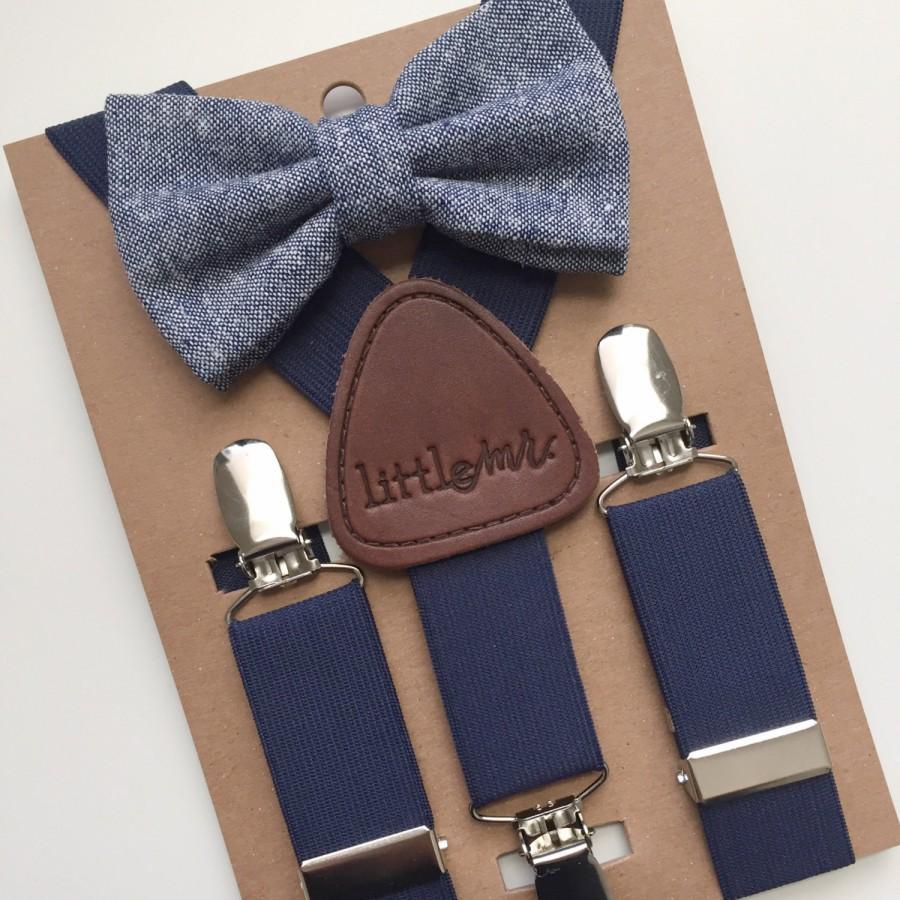 Свадьба - Baby Bow Tie and Suspenders, Toddler Bow Tie and Suspenders, Navy Bow Tie Navy Suspenders
