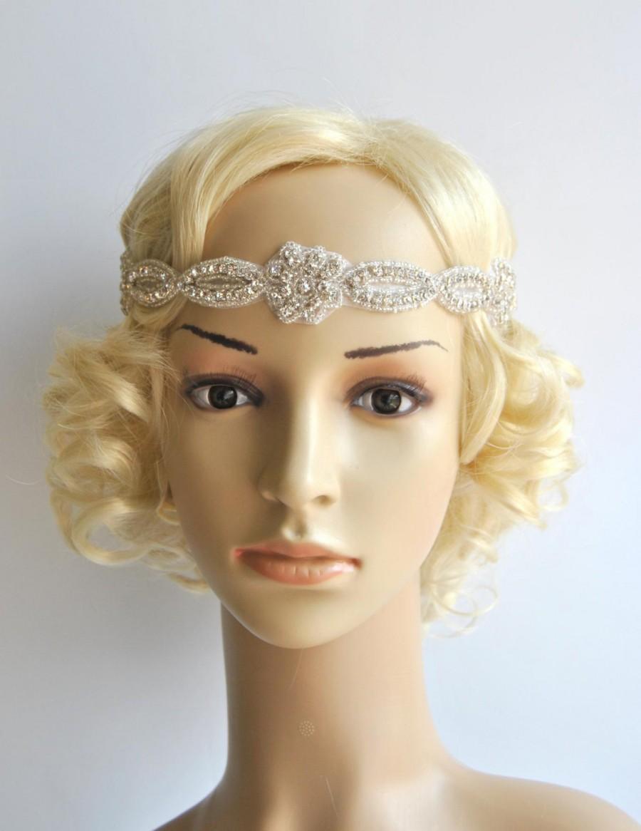 Mariage - Rhinestone Headband, Gorgeous 1920s Flapper headband Wedding Bridal Headband, Crystal ribbon tie on Headband, Wedding Halo Bridal Headpiece