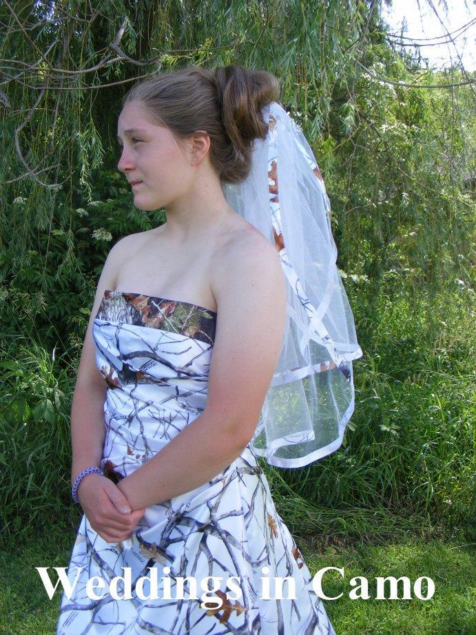 زفاف - Camo Ribbon Double Layer Ribbon Trimmed Veil