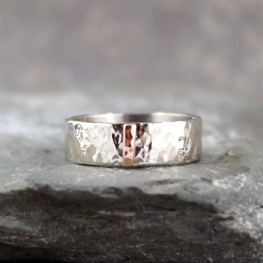 Hammered 14K White Gold With Pink Rose Vertical Bar Wedding Band