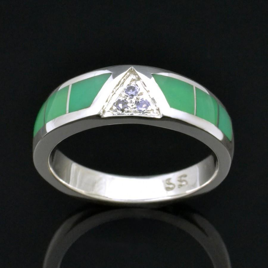 Свадьба - Chrysoprase Ring With White Sapphires in Sterling Silver