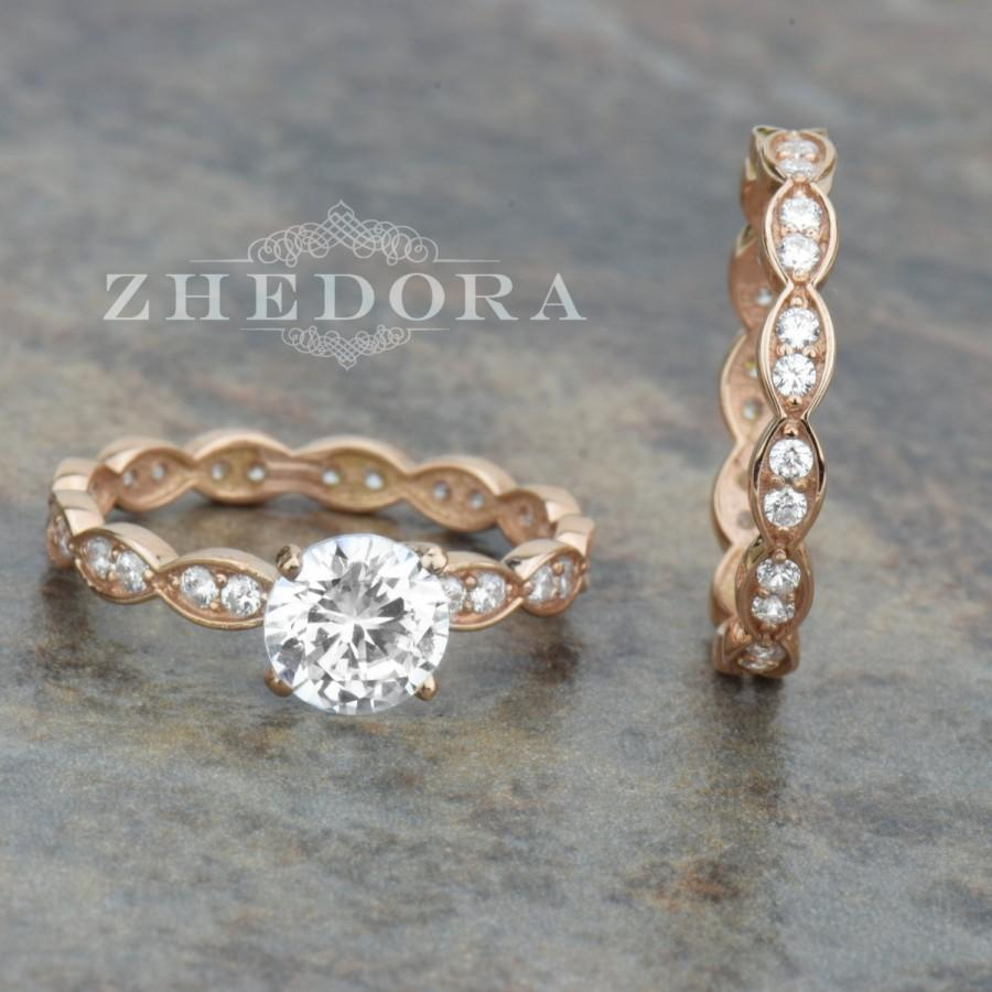 15 CT Round Cut Engagement Ring Band Set In Solid 14k Rose Gold Bridal Wedding Lab Created Diamond Fancy Design