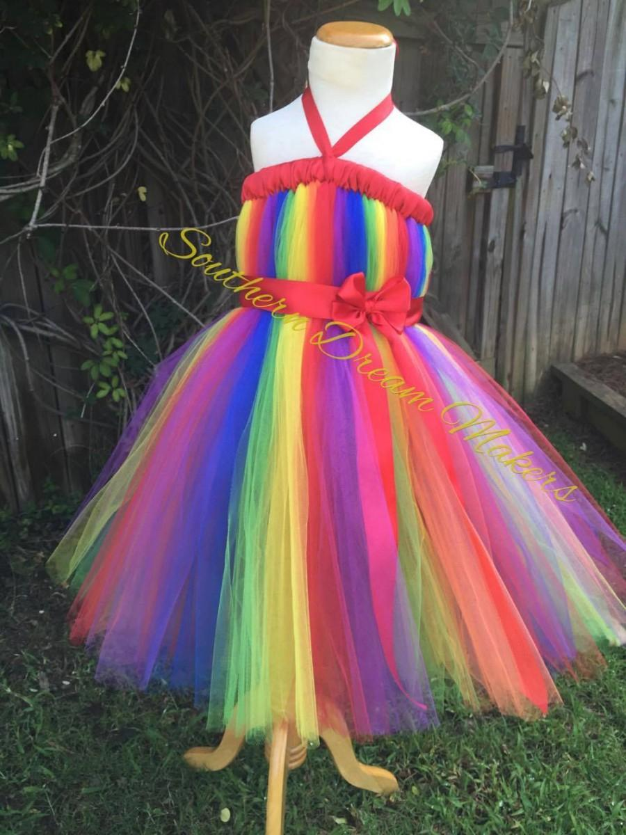 Rainbow Tutu Dress Rainbow Dress Rainbow Flower Girl Dress