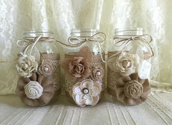 Hochzeit - 3 burlap and lace mason jar vases, wedding, bridal shower, baby shower