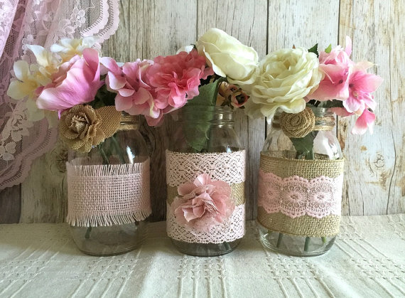 Hochzeit - 3 pink burlap and lace covered mason jar vases, wedding, bridal shower, baby shower