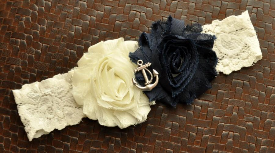 Свадьба - Navy Wedding Garter, Anchor Bridal Garter, Ivory Lace Wedding Garter, Navy Garter, Nautical Garter, Anchor Garter, Ocean Garter, Blue Garter