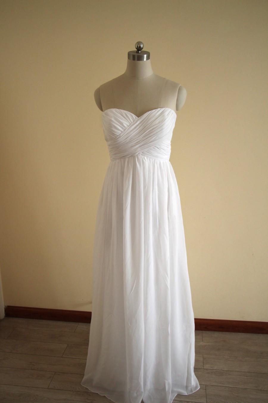 Hochzeit - White Long Sweetheart Bridesmaid Dress Floor Length White Chiffon Strapless Bridesmaid Dress