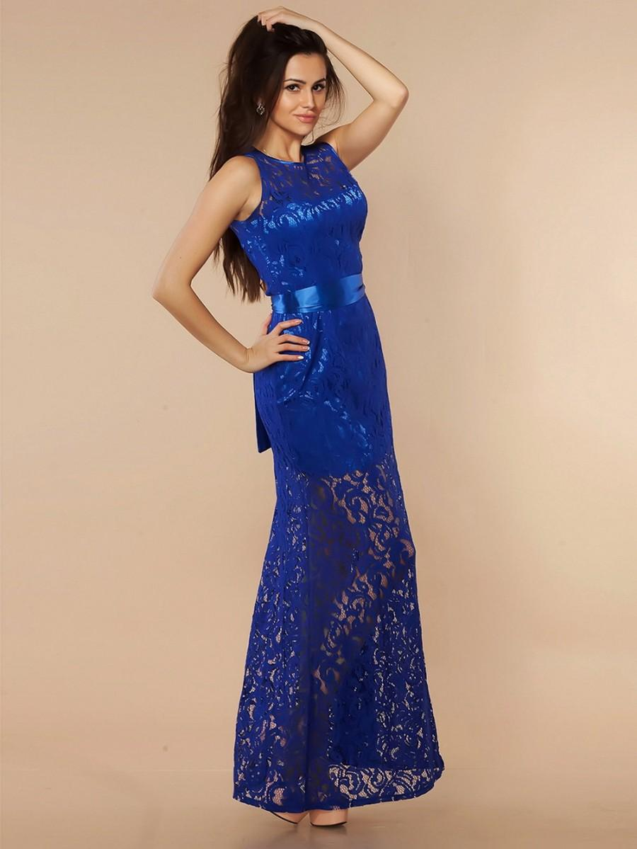 Mariage - Evening dress Cobalt blue, Wedding dress Bridesmaid , Formal dress, Long dress lace.