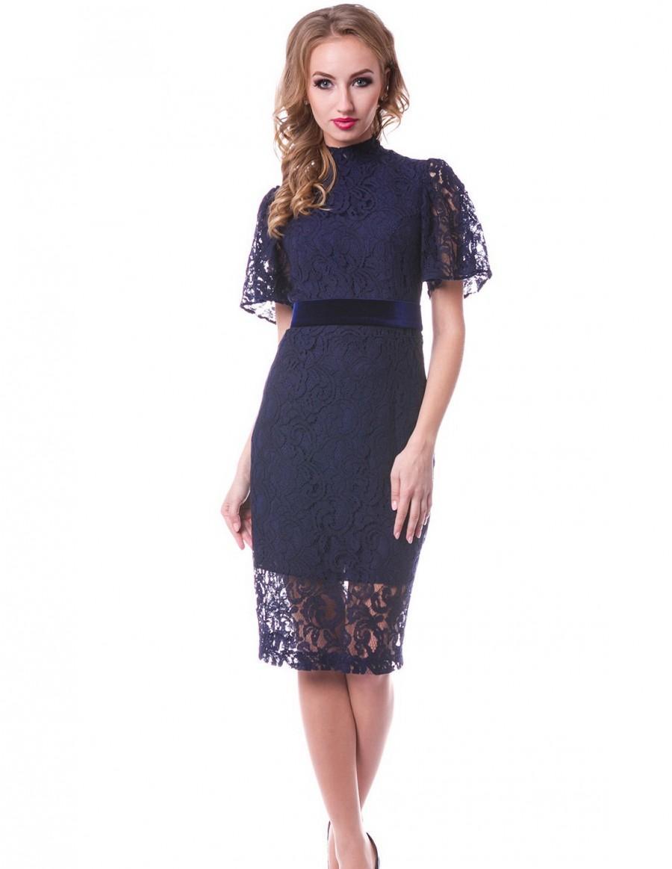 Navy Blue Lace Cocktail Length Dress