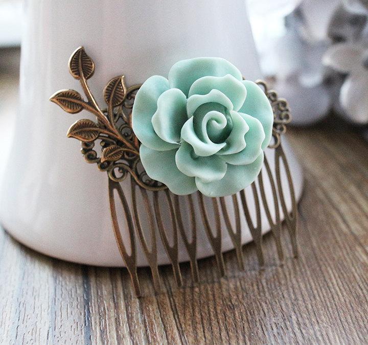 Свадьба - Vintage Style Rose Hair Comb. hair clip. mint green. spring collection. filigree barrette. hair accessory. vintage wedding