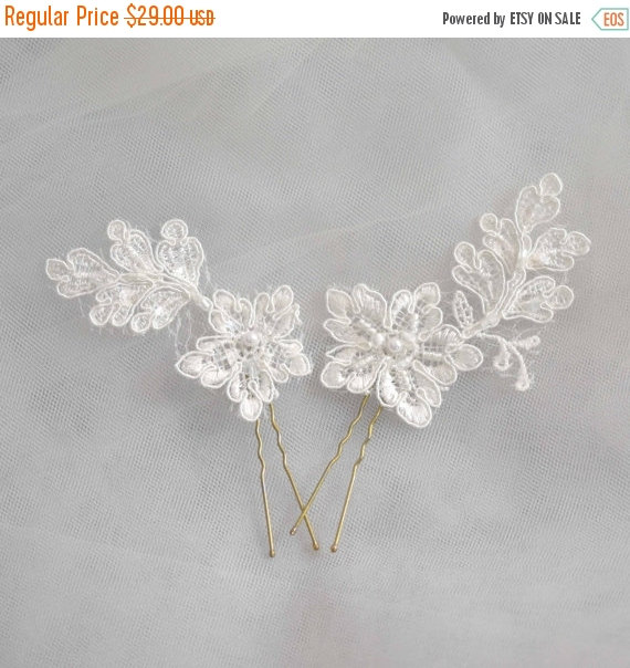 Shop Closing Sale Bridal Hair Pins Lace Wedding Pins Floral