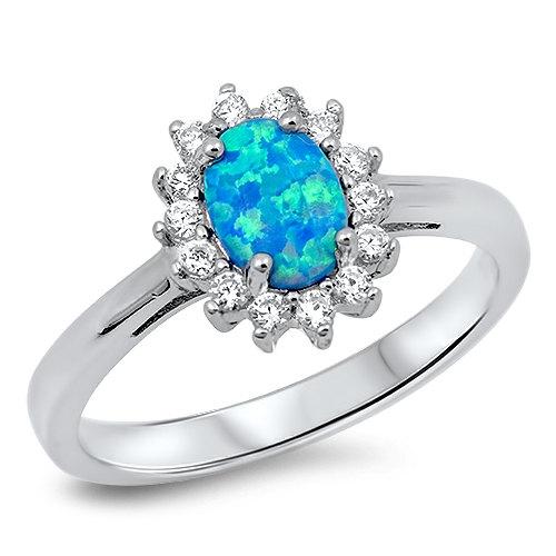 Свадьба - 2.10 Carat Oval Cut Blue Fire Lab Australian Blue Opal WhiteTopaz CZ Solid 925 Sterling Silver Wedding Engagement Anniversary Halo Ring