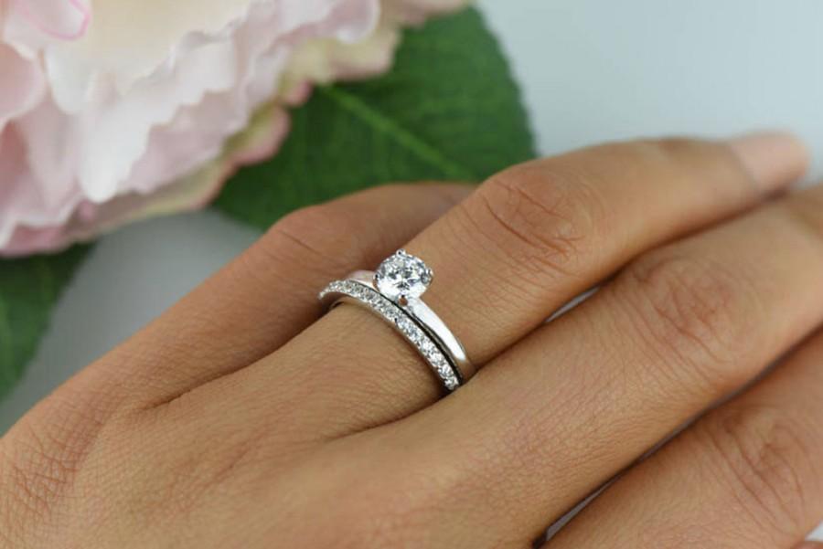 1 2 Ctw Half Eternity Wedding Set Solitaire Ring Man Made Diamond