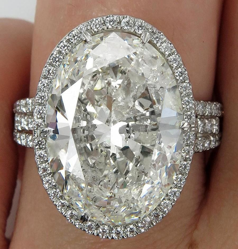 Mariage - HUGE Estate Vintage 10.03ct Classic Oval Cut Diamond Halo EGL USA Engagement Platinum Ring