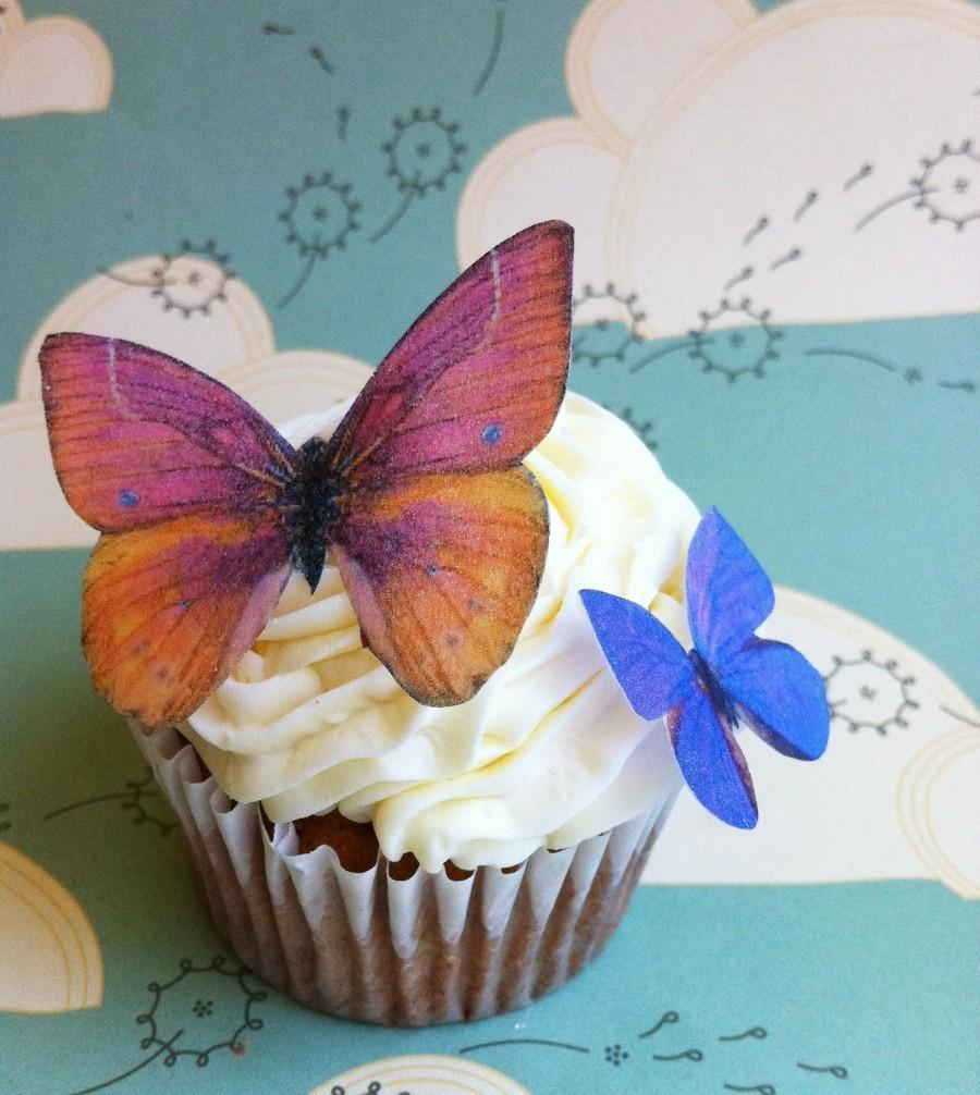 Hochzeit - Wedding Cake Topper The Original EDIBLE BUTTERFLIES  - Orange and Violet Set