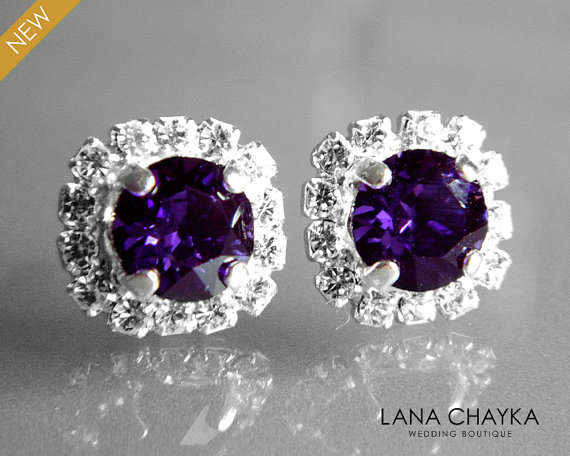 Dark Purple Crystal Halo Earrings Swarovski Velvet Rhinestone Hypoallergenic Studs Violet Silver Bridesmaids