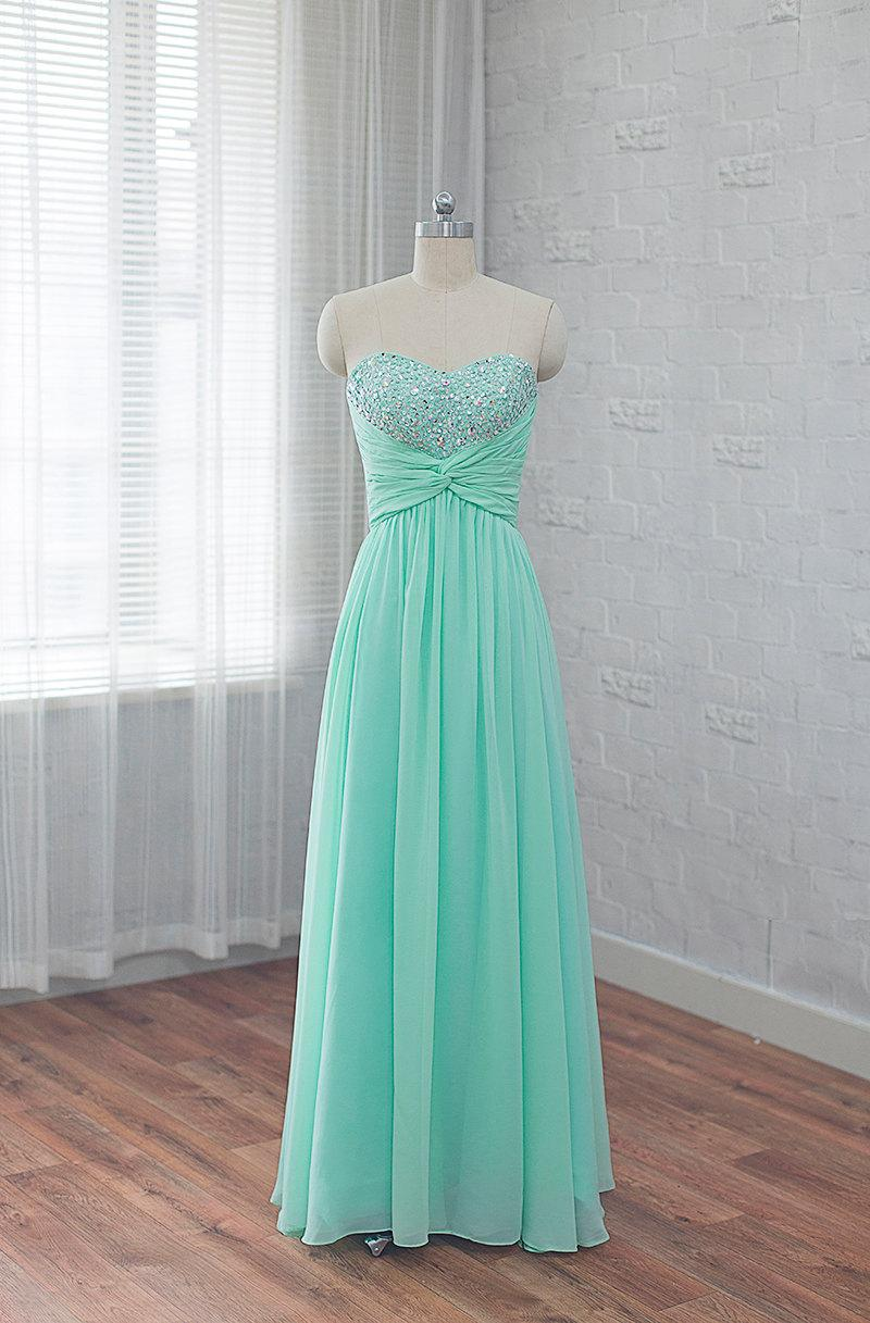 Wedding - long prom dress, chiffon bridesmaid dress, Mint homecoming dress