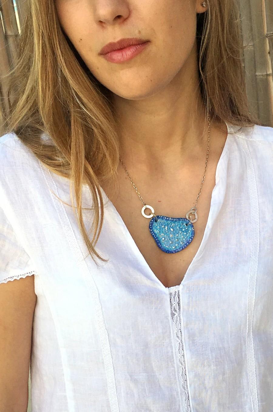 Mariage - Something blue for bride, Something blue wedding necklace