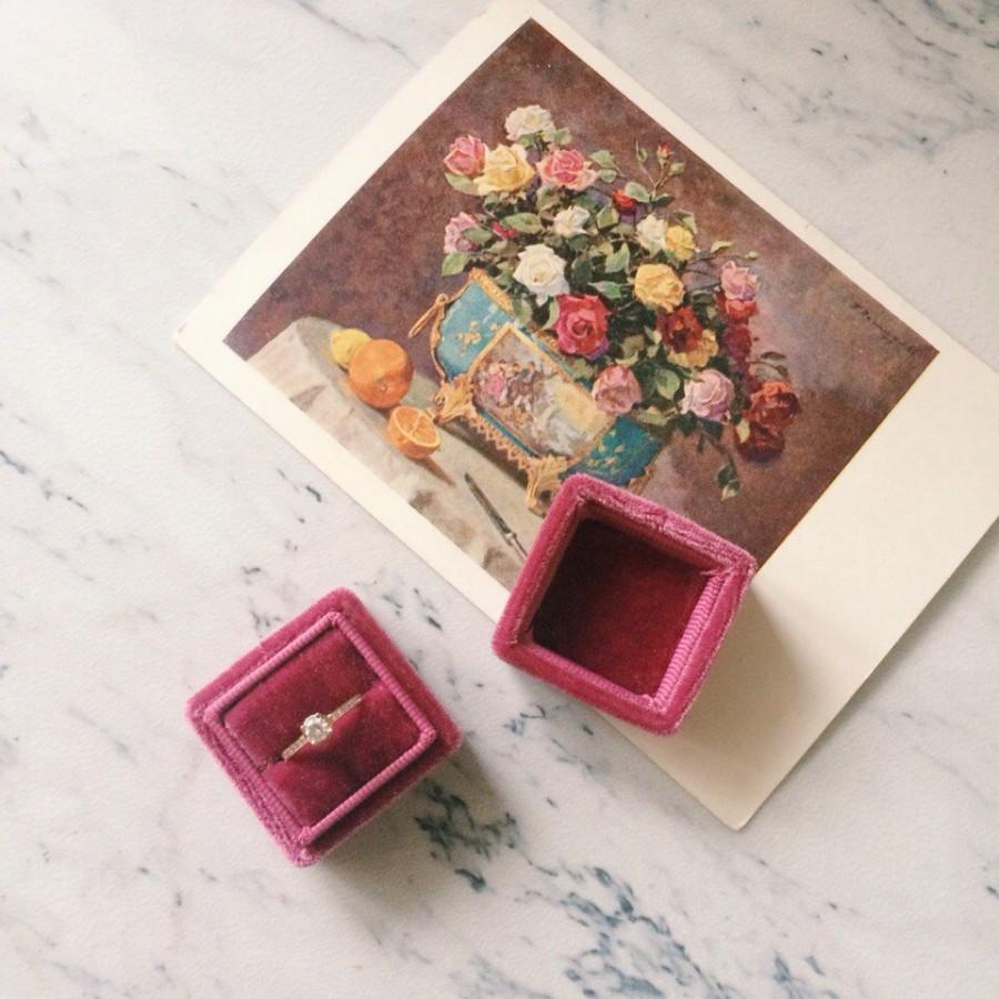 free shipping! deep pink dusty rose velvet ring box handmade