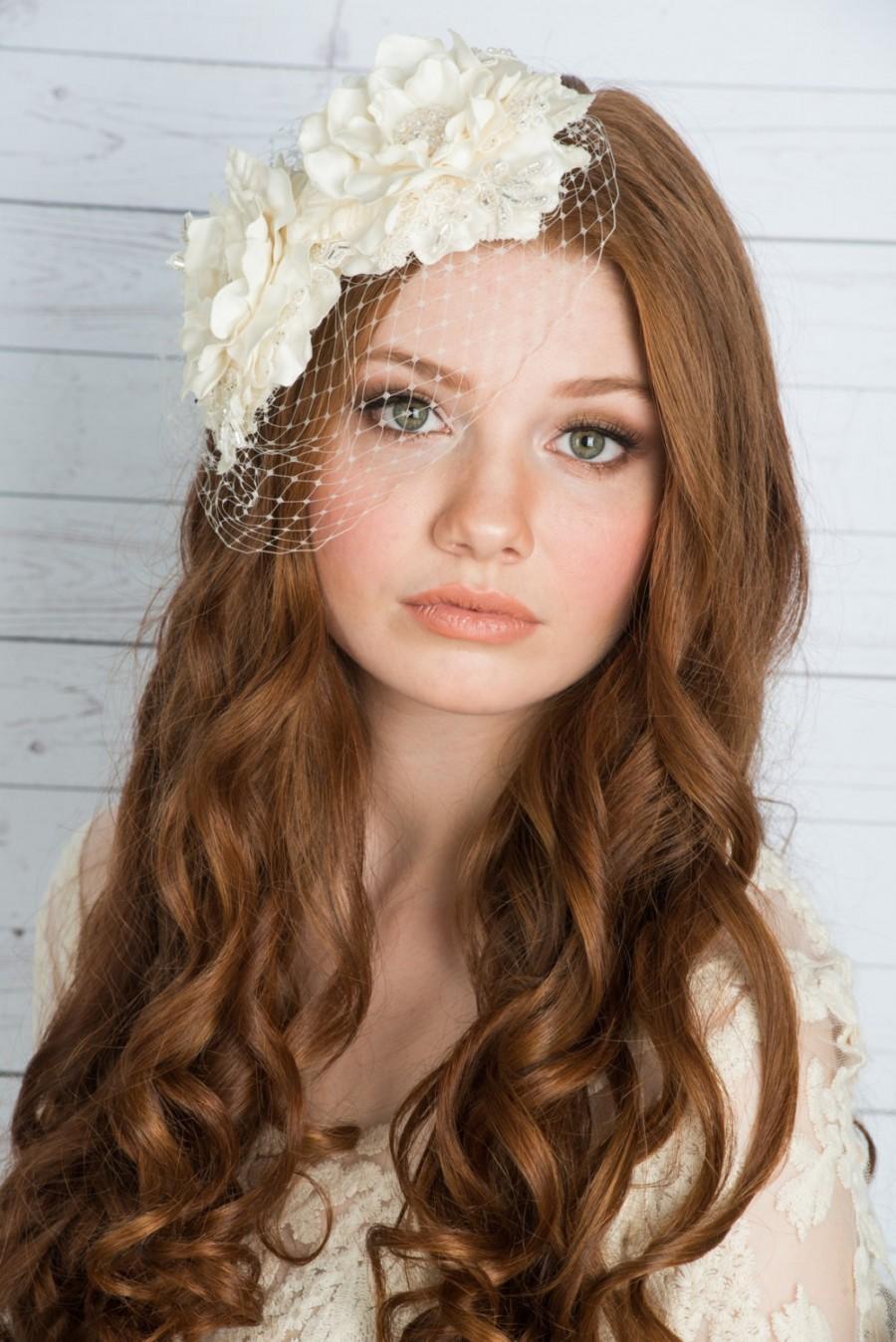 زفاف - Ivory Flower headpiece, Silk Flower headpiece, Birdcage Veil, Flower Birdcage Veil, Bridal Flower, Ivory Flower, Flower Fascinator, OLIVIA