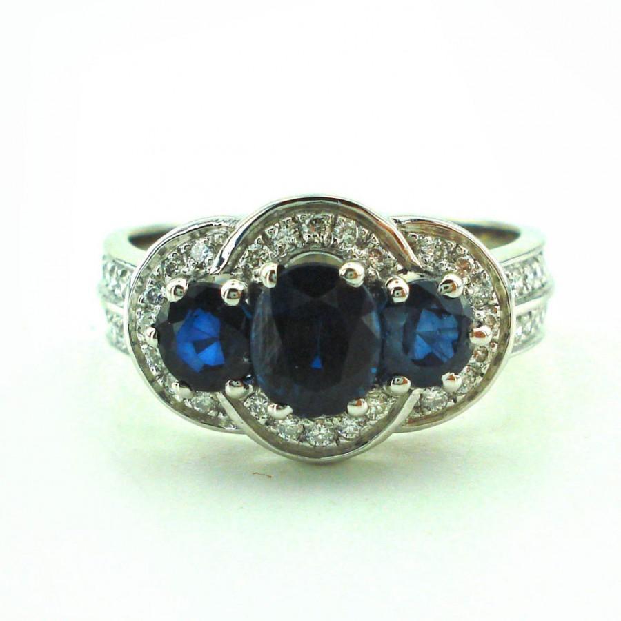 Свадьба - 1.7 Carat Sapphire Engagement Ring, White Gold Ring, Engagement Band, 1.7 Carat Sapphire Ring, Sapphire Wedding Band, Fast Free Shipping