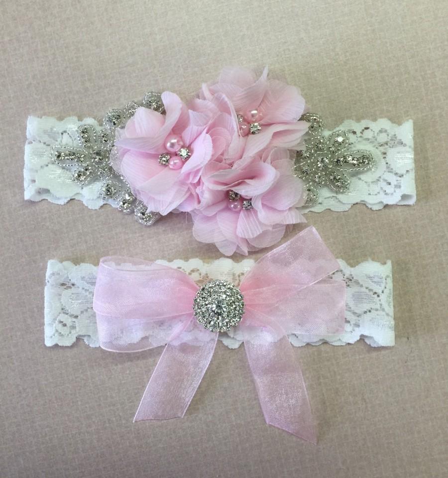 Mariage - Wedding garter with bling , Choose your color ,   bridal garter , blush pink wedding garter
