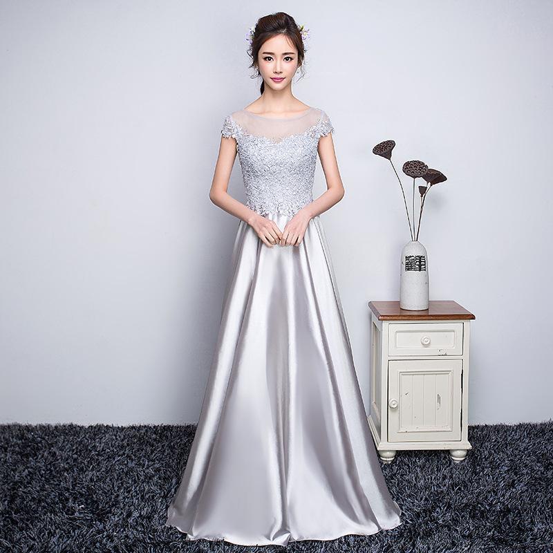 2016 Long Charming Lace Appliques Floor-Length Prom Dresses, Cap ...