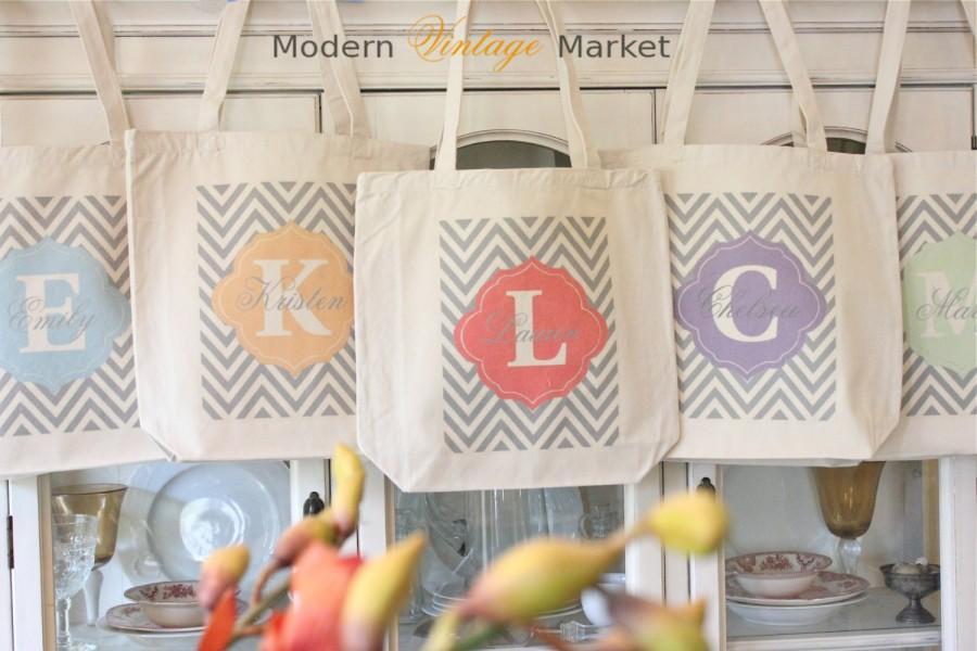 زفاف - 7 LAUREN CHEVRON Tote Bags,Gift bags,Monogrammed tote bags, Chevron bags,Bridesmaid bags,in 60 colors to chose from by Modern Vintage Market
