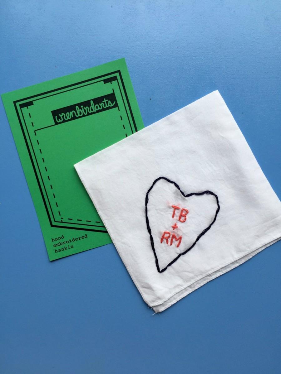 زفاف - 2nd Anniversary Gift Handkerchief Heart Embroidery Love Gift Cotton Gift Custom Handkerchief