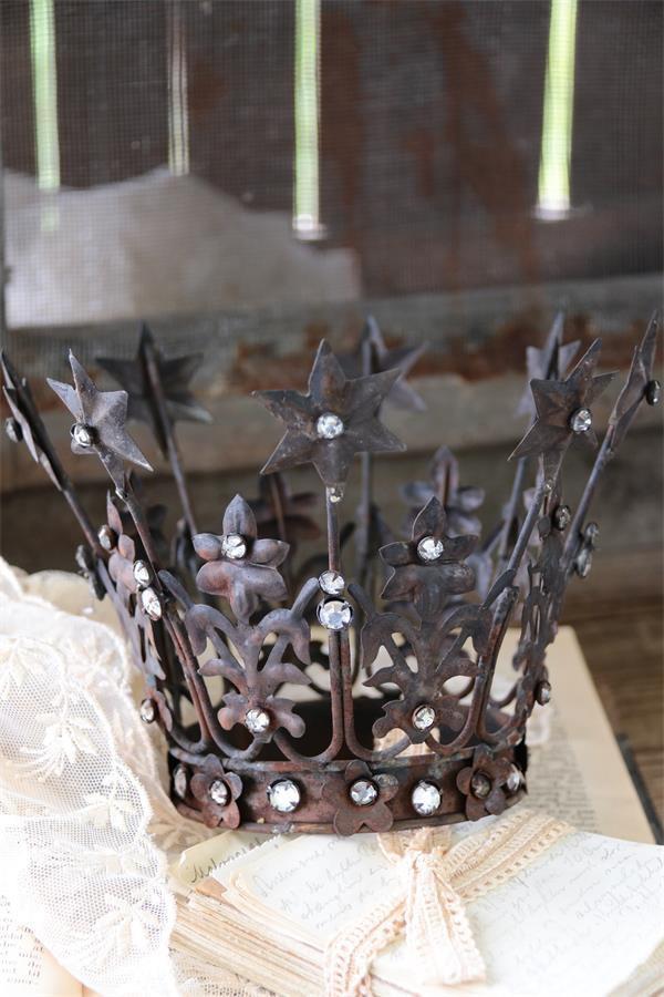 زفاف - Large French Brocante Santos Star Crown Jeanne d' Arc Living Rusty Distressed Rhinestones Wedding Fairy Photo Prop Cake Topper