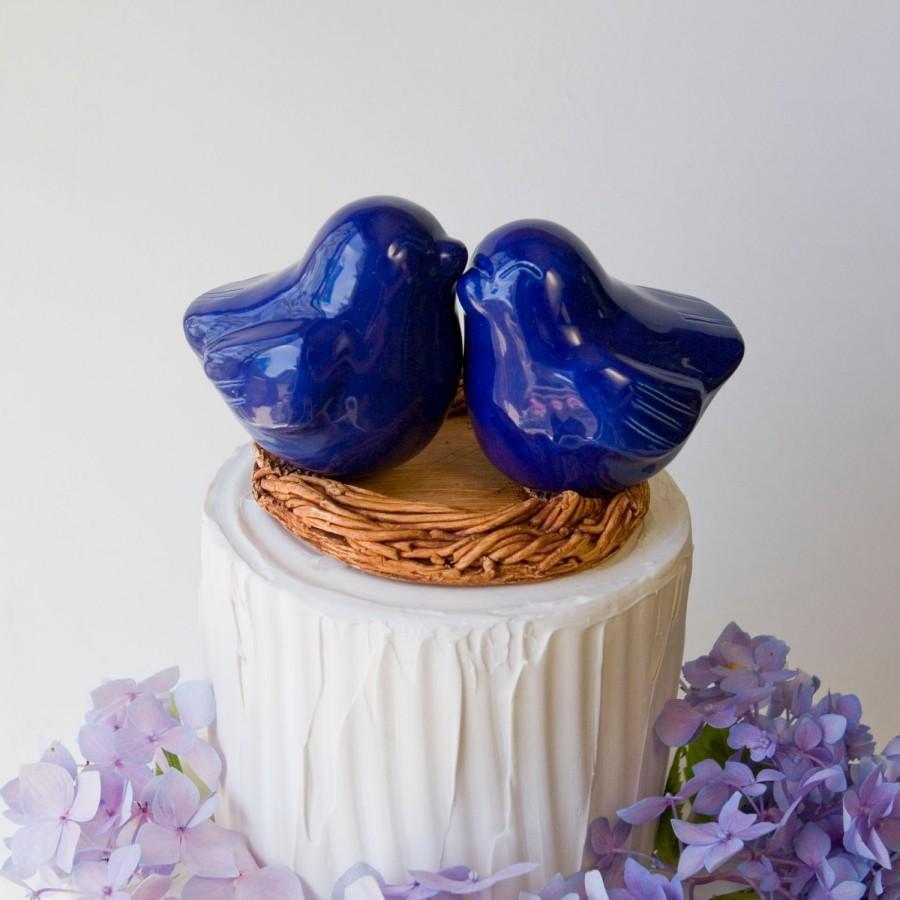 Свадьба - Cobalt Blue Love Bird Cake Topper