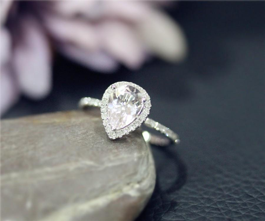 Свадьба - Pear Shaped Natural Pink Morganite Ring Solid 14K White Gold ring Wedding Ring Stackable Wedding Ring Promise Ring Anniversary Ring