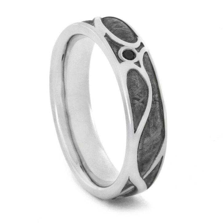 Свадьба - Art Nouveau Engagement Ring with Black Diamond, 10k White Gold Wedding Band with Meteorite