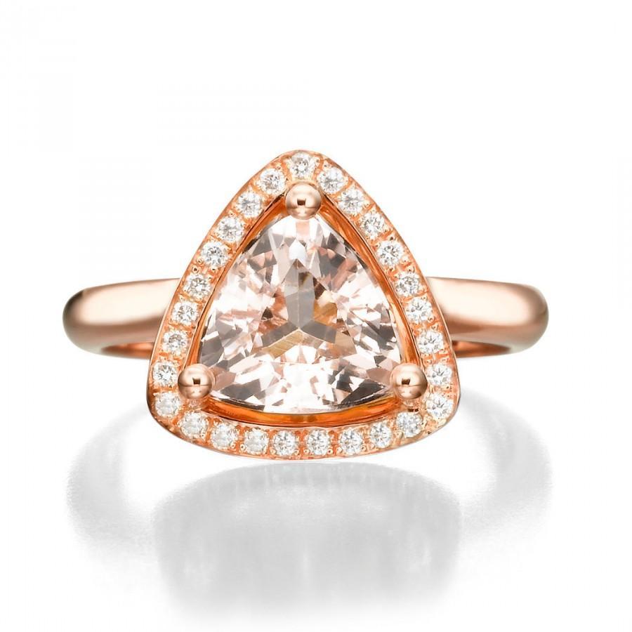 Свадьба - Morganite engagement ring , morganite ring , rose gold engagement ring , halo engagement ring , morganite diamond ring , rose gold ring